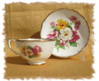 vintage roslyn summer beauty fine bone china cup saucer time