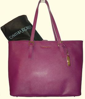 nwt cynthia rowley extra large saffiano leather tote pink