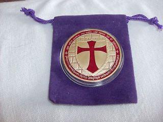 Mason Masonic Templar Gold Plate Medallion Collectible Brotherhood