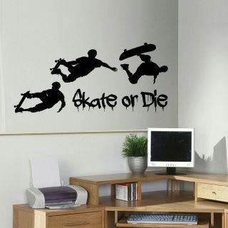 LARGE SKATEBOARD SKATE OR DIE WALL MURAL ART STICKER TRANSFER DECAL