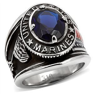 R884 13 STAINLESS STEEL BLUE STONE USMC MARINE CORPS SURPLUS RING SIZE