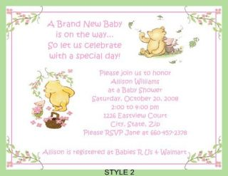 classic pooh baby shower invitations all in 1 game pk