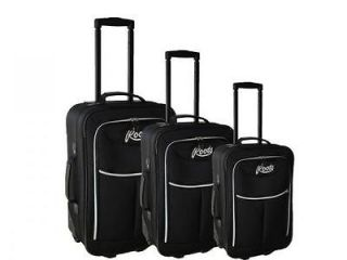 New Black All Season Vacation Expandable 3 Piece Upright Luggage Set