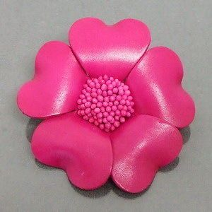 Handmade Pink Praire Rose Flower Hair Ties Band Ponytail 100% Leather