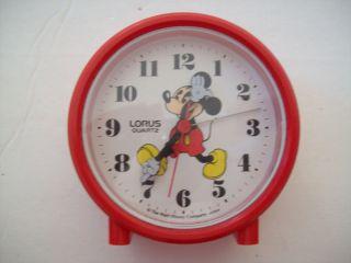 mickey mouse lorus quartz travel alarm clock japan red time