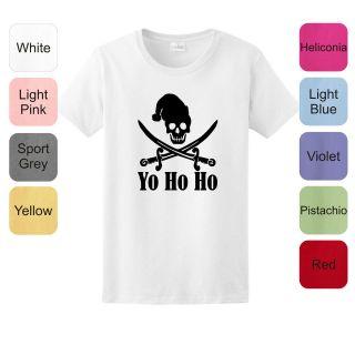 Yo Ho Ho Christmas Pirate LADIES T Shirt Jolly Roger Skull Flag Funny