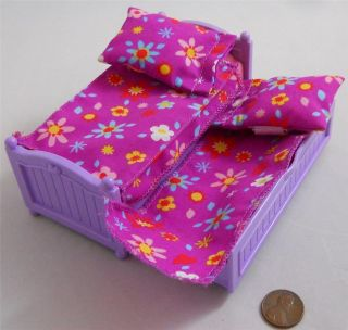 Fisher Price Loving Family Dollhouse Kids Trundle Bed Pink Purple