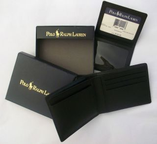 POLO RALPH LAUREN MENS BLACK LEATHER PASSCASE WALLET IN GIFT BOX NWT
