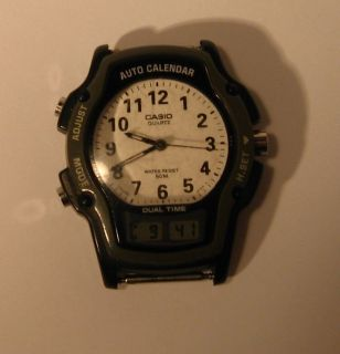 Casio AW 24 Dual Time Auto Calendar Mens Watch Made in Japan #604
