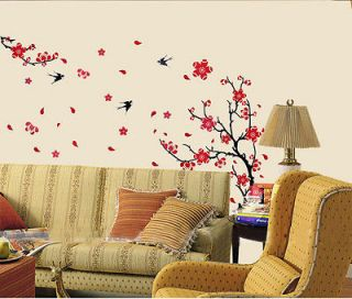 Plum Blossom Flower Removable Wall Sticker Decor Decal Room Background