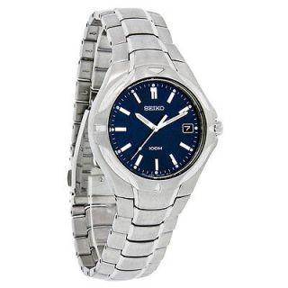 Seiko Quartz Mens Blue Dial 100M Wr Stainless Steel Dress Watch SGE507