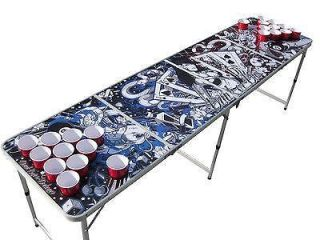Portable Tattoo beer pong table w HOLES (dragons koi skulls cards guns