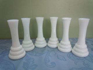 Set of 6 Vintage Antique White Milk Glass Budding Vases 6 RANDALL USA