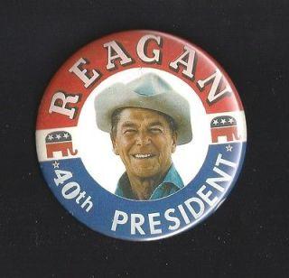1980 ronald reagan 40th president button pin 3 1 2