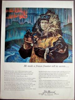 John Hancock Insurance Rear Admiral Richard E. Byrd vintage art ad
