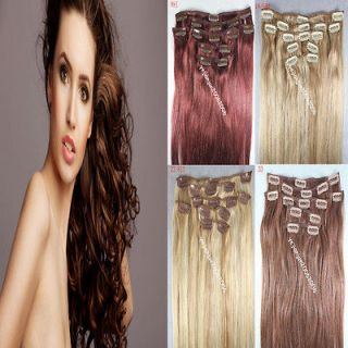 16/18/20 4 Color Remy 7pcs Clip In Real Human Hair Extensions 70G