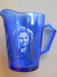 shirley temple cobalt pitcher 4 1 2 tall hazel atlas