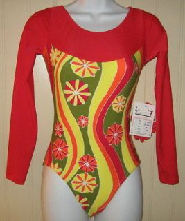 red retro flowers long sleeved gymnastics leotard expedited shipping