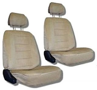 Tan Quilted Velour Car Auto Truck Seat Covers w/ Head rest Covers #4
