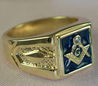MASONIC blue Lodge mens ring blue enamel 18K yellow gold overlay size