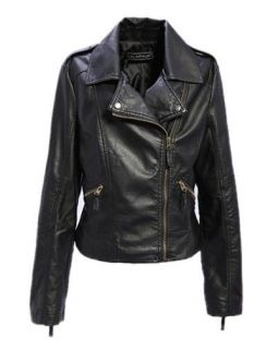 Punk Style PU Leather Jacket Coat Short Slim Jacket Size S XL Black