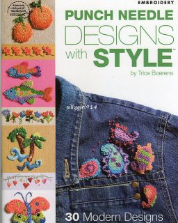 30~PUNCH NEEDLE DESIGNS~EMBROIDERY PATTERN BOOK~SEE PICTURES