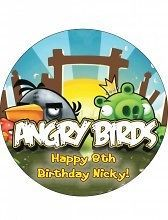 Angry Birds Cake #1 Round CAKE Icing Image topper frosting