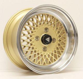 GOLD RIMS WHEELS 15x7 +38 4x114.3 FITS CUBE SWIFT ACCORD RENO SENTRA
