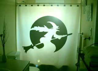 halloween shower curtain witch broomstick moon scary from canada time