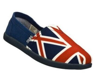 Skechers BOBS World Girls NATION Union Jack Canvas Shoes 13 M (30 Eur