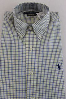 Ralph Lauren Dress Shirt Button Down Classic Fit White Yellow Blue