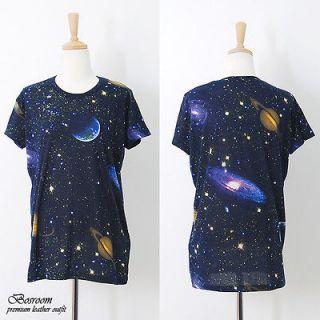 rare Galaxy space print graphic t shirt long rock punk top BLACK