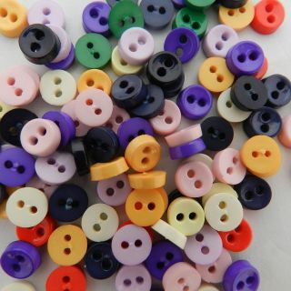 24 tiny opaque buttons 6 mm black pink purple blue grey yellow green