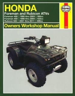 Honda Foreman Rubicon ATV TRX400 TRX450 TRX500 1995 2011 Haynes Manual