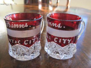 Pair of American Victorian ruby flash glasses, BINNS Atlantic City USA