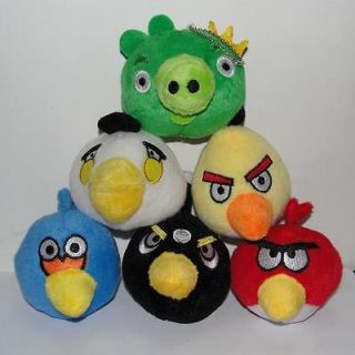 Color Angry Birds + 1pc Green Pig Stuffed Plush Toy Set 3 Dolls