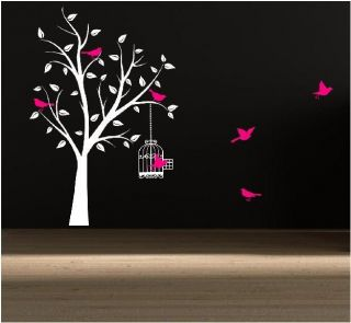 Tree With Cage Flying Birds Leaves Wall Art Sticker Decal Mural
