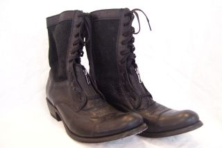 Sendra Mens Boots Black Leather/Suede Zip/Lace Combat Style Size 10