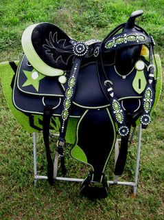 CORDURA TRAIL BARREL PLEASURE SADDLE LIME GREEN STAR TACK COMBO LG01