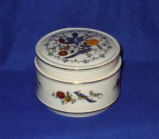 Vintage Sadler Pottery China England Blue Bird Round Trinket Box