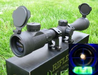 Mil Dot Blue illuminate Rifle Scope Tactical Optics Scopes Level Gauge