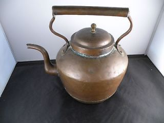 Antique French large copper kettle, great patina, old, hand made, 11