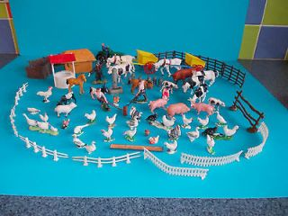 VINTAGE LOT OF OVER 70 BRITAINS TAYLOR & OTHER FARM ANIMALS PEOPLE