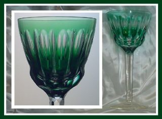 EMERALD GREEN TEAL Wine Glass Goblet Hock CUT CLEAR LEAD CRYSTAL