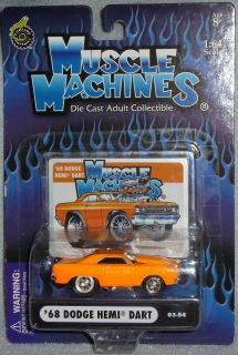 2003 MUSCLE MACHINES 68 Dodge Hemi Dart #03 54 Real Riders Orange