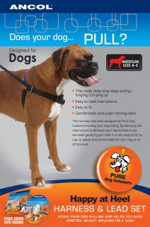 ANCOL HAPPY AT HEEL DOG TRAINING HARNESSAND LEAD SET,STOPS PULLING,AND