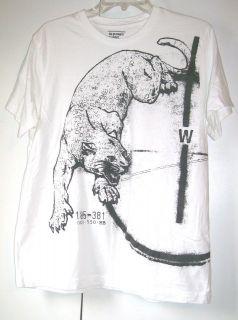 Old Navy * White w Black Leopard Graphic Print Shirt   Size L EUC