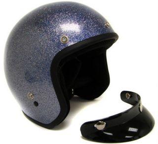 Metalflake Blue Motorcycle Open Face Helmet Cafe Racer Vintage Cruiser