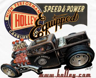 retro rat rod pickup truck t shirt by holley carbs