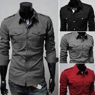 Mens Fashion Designer Military Slim Dress Shirts Tops Western US SZ